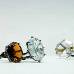 Rings, Shot. Oxidized silver, gold, michelite, smoke quartz, ialino quartz.  By Zero43