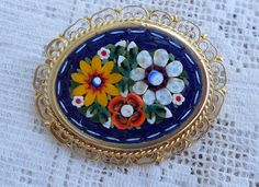 Micro Mosaic Italian Flower Brooch