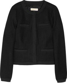 Michael By Michael Kors Chiffontrimmed Bouclé Jacket in Black - Lyst Chanel Jacket, Boucle Jacket, Michael Kors Black, Chiffon, Sweaters, Jackets, Stuff To Buy, Inspiration, Clothes