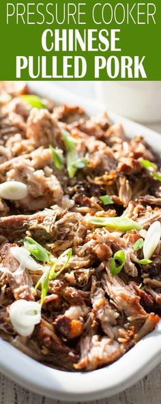 Chinese Pulled Pork in the pressure cooker! This is a sweet and spicy twist on pulled pork, perfect for piling on buns, adding to tacos, or making traditional Chinese steamed buns. #bbq #PulledPork #PressureCooker #InstantPot