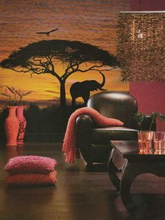 National Geographic African Sunset Wall Mural - The Home Depot Safari Room, Safari Theme Bedroom, Bedroom Themes, Bedroom Decor, Master Bedroom, African Room, African Theme, African Safari, African Style