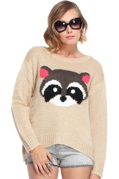 Birthday Wishes <3 ROMWE   Racoon Embroidered Beige Jumper, The Latest Street Fashion