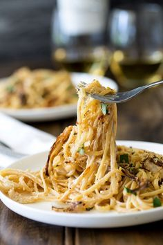 Sweet roasted fennel, paired with a subtle bite of lemon and a salty pangrattao. All served with a rich creamy linguine. This is the perfect mid-week meal, but it is beautiful enough for company, especially as it is vegetarian! And packed with so much flavour! | Get the recipe at Sprinkles and Sprouts