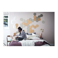 These hexagonal HÖNEFOSS Mirrors from IKEA is rad! On my bucket list of stuff to buy for interior redesign