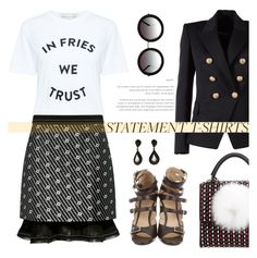 """""""Trust your fries"""" by pensivepeacock ❤ liked on Polyvore featuring TIBI, Balmain, Les Petits Joueurs, Être Cécile, Carven, Yves Saint Laurent and Sunday Somewhere"""