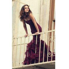 Burgunday Mermaid Prom Dresses pst0317