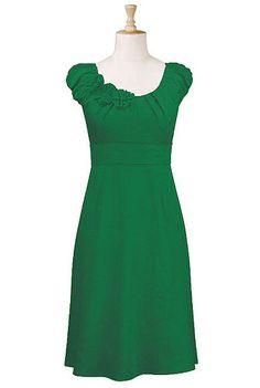 Rosette trim dress in jade green.