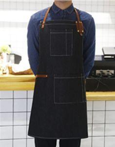 Black Denim Apron with Genuine Leather Straps.Suitable for Uniforms of Barber,Barista,Bartender,Stylist,Waiter/Waitress,Florist,Painter,Gardener, or Work ware of Tattoo shop,Craft workshop etc.
