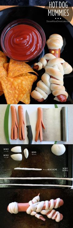 Hot Dog Mummies are a fun Halloween food your kids can help make! (Step-by-step…