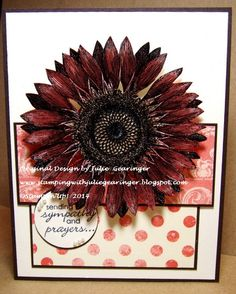 Stamping with Julie Gearinger: Sunflower Prayers- A Calypso Coral Monochromatic Card created iwith Stampin' Up! Sunflower along with Etcetera DSP and Petite Pairs :-)