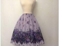 ADORABLE vintage floral purple lavender green full circle skirt 1950's 50s cupcake