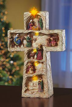 Lighted Christmas Religious Nativity Cross Decoration