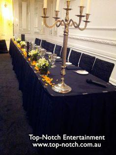 Wedding table place setting at the International of Brighton, Brighton, Victoria.  www.top-notch.com.au  www.facebook.com/WeddingDJTopNotch