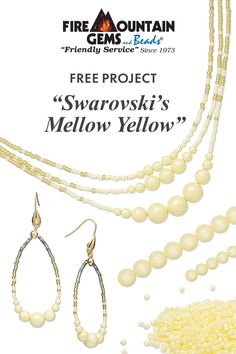 A FREE jewelry set project featuring Swarovski crystal pastel yellow pearls and Delica seed beads. Learn how to use bead tips, crimp cover and loop finding in one. Diy Necklace Patterns, Beaded Jewelry Patterns, Crystal Jewelry, Wire Jewelry, Gemstone Jewelry, Pastel Yellow, Mellow Yellow, Beaded Necklaces, Beaded Earrings