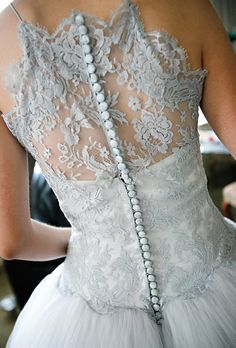 I adore not only the lace but the soft grey colour of this stunning Vera Wang wedding dress - adorable