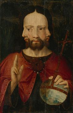 Anonymous (Netherlandish School, c 1500) - Christ with Three Faces (The Trinity)