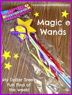 Fun Dollar Store Find!  These wands make for an awesome Magic e activity.  Free templates for use during literacy centers.