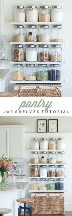 Easy DIY Jar Shelves that doubled her pantry space! Perfect kitchen organization.