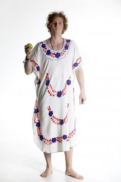 Round She Goes - Market Place - Beautiful white Mexican 70s Kaftan. Mexican 70s dress with colourful embroidery all over. Dress is a loose style with red stitching around neckline. Little slits at the sides of the hem. Could suit a few sizes depending on desired look. Fun Fun Fun $60.00 plus shipping