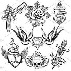 Tattoo Monochrome Elements Set  @creativework247