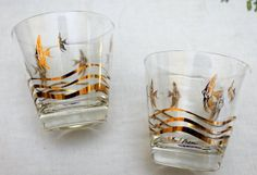 Pair of Vintage Fred Press LowBall Glasses with Gold Angel Fish and Ocean Waves