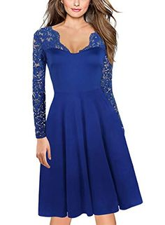 Cocktail Dress for Womens 1940 Vintage VNeck Floral Lace Long Sleeve Stretch Ladies Bridesmaid Party Dresses 189 M Blue >>> Check out the image by visiting the link. (This is an affiliate link) Vintage Floral, Floral Lace, 50s Vintage, Mother Of The Bride Gown, Lace Bridesmaids, Next Wedding, Cute Dresses, Bride Dresses, Party Dresses