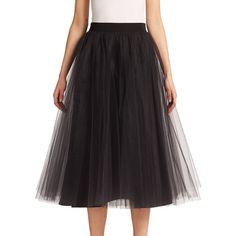 Badgley Mischka Tulle Midi Skirt ($330) ❤ liked on Polyvore