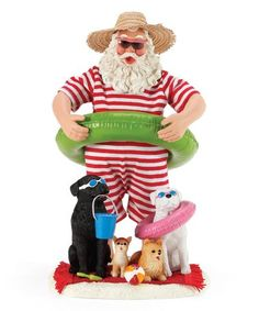 Look at this Red & Green Dog Days of Summer Santa Figurine Santa Figurines, Christmas Figurines, Collectible Figurines, Pet Dogs, Pets, Tropical Christmas, Dog Days, Fabric Material, Red Green