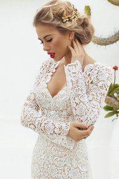 Suknie - Suknia ślubna GLAMOUR gipiura 34-40 - 2 400,00zł