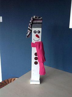Houten sneeuwman
