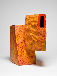 "Ken Price    ""Orange""    Acrylic on fired clay    1987     16 x 15 x 10 ½ in."