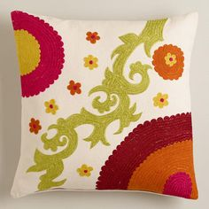 One of my favorite discoveries at WorldMarket.com: Olive and Orange Suzani Throw Pillow