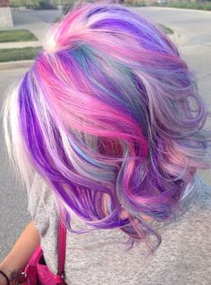 Love the choppy look. I love everything about this cut n color Beauty: Fantasy Unicorn Purple Violet Red Cherry Pink Bright Hair Colour Color Coloured Colored Fire Style curls haircut lilac lavender short long mermaid blue green teal orange hippy boho ombré woman lady pretty selfie style fade makeup grey white silver Pulp Riot