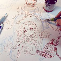 Concept with Alice in Wonderland in the bottle :D  My online Shop -->> www.naschi.storenvy.com  Tools  Rohrer & Klingner drawing ink, G-Pen, mechanical pencil #aliceinwonderland #alice #chesirecat #disney #drawing #disneyprincesses #fantasy #art #cute #kawaii #instaart #instalove #emotion #fantasyart