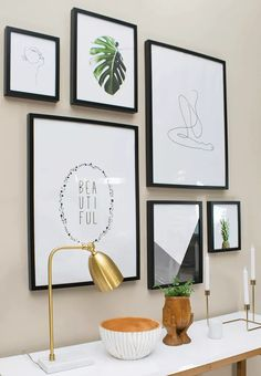 Wall Art: The Modern Minimalist Gallery Wall Guide for Beginners. In this modern minimalist gallery wall guide for beginners, learn the basics of designing and hanging up your first gallery wall. Modern Gallery Wall, Gallery Wall Layout, Gallery Wall Art, Gallery Wall Bedroom, Stairway Gallery, Boho Home, Unique Wall Art, Modern Wall Art Decor, Modern Framed Art