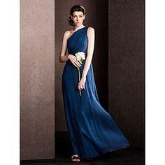 Sheath/Column One Shoulder Floor-length Silk Bridesmaid Dress - EUR € 72.72
