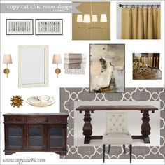 warm gold & gray dining room