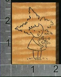 Girl with flowers stylized art rubber stamp