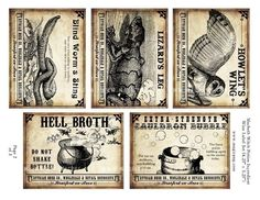 Macbeth Witch Potion Wine Labels digital collage sheet set for dinner party entertaining