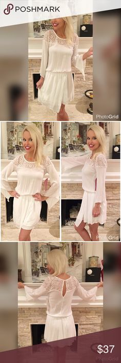 Angelic in this white flowy asymmetrical dress! Top crochet detail fully lined from waist down with 3 qtr bell sleeves in a delicate whimsical dress! Dresses