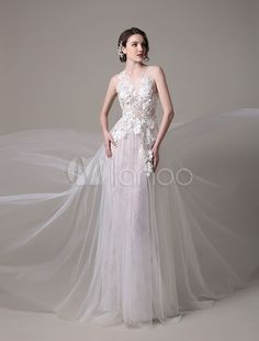 Sexy Wedding Dress In Lace And Tulle With Sheer Illusion Tulle Bodice  Floral Applique Milanoo   Wedding   Wedding Dresses   A-line Wedding Dresses 8a90acf2ca3