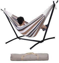 Patio Double Hammock Portable Swing Steel Stand Garden Yard Backyard Carry Bag #Unbranded