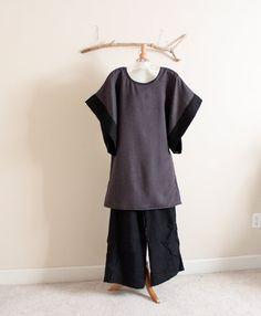 over size herringbone wool kimono wide sleeve tunic by annyschooecoclothing, $