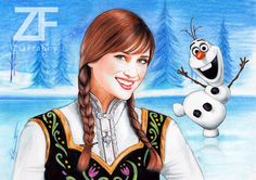 Anna and Olaf drawing by Francesca Benevento