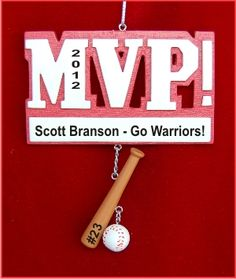 MVP Baseball Personalized Christmas Ornament