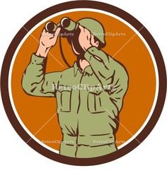 World War Two American Soldier Binoculars Retro Circle Vector Stock Illustration