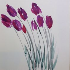 Purple tulips watercolor painting, blank note card design, by London Artist Sophie McMillan #flowers #painting #notecards #floral #watercolor #purple #design