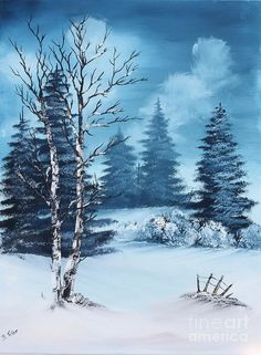 Winter Painting by Barbara Teller Watercolor Landscape, Landscape Art, Landscape Paintings, Watercolor Art, Painting Snow, Winter Painting, Christmas Landscape, Winter Landscape, Christmas Canvas