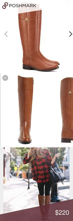 Tory Burch Jolie boot Authentic Tory Burch riding boots with extended calf width in tumbled leather. color is rustic brown. i've only worn these once, then stored it back in its box. it's basically like new. i purchased this in the extended calf width so it would have a wider opening, which i love. size 7 and fits tts. purchased directly from the Tory Burch store in Waikiki, Hawaii. reasonable offers welcome. Tory Burch Shoes