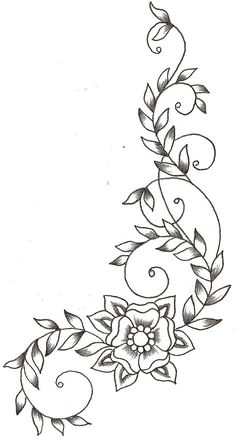 Flower Embroidery Pattern Vines and Flower by ~TheLob on deviantART - Wood Burning Crafts, Wood Burning Patterns, Wood Burning Art, Wood Burning Projects, Wood Burning Stencils, Stencil Wood, Vine Drawing, Plant Drawing, Flower Design Drawing